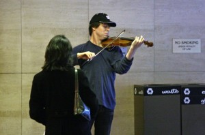 Joshua Bell playing at L'Enfant Plaza Metro, 2007. (Michael S. Williamson/The Washington Post) Caption for photo