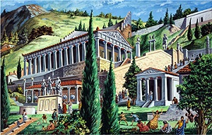 A depiction of the Shrine at Delphi by Giovanni Ruggiero. The Greeks worshiped reason.